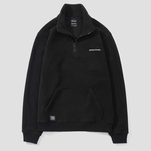 POLAR FLEECE HALF ZIP-UP (BLACK) [GNZ021F43BK]