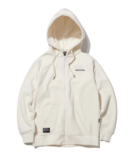 2018 POLAR FLEECE HOOD FULL ZIP-UP (WHITE) [GHZ008G43WH]