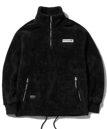 HIGH NECK FUR FLEECE HALF ZIP-UP (BLACK) [GNZ002G43BK]
