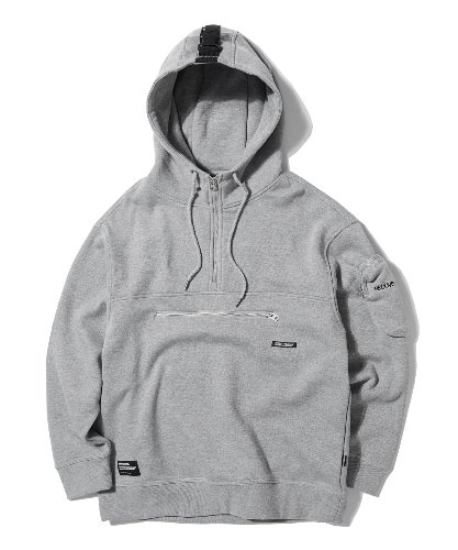 POCKET ZIPPER POINT HOODIE (MELANGE GREY) [GHD013G43MG]