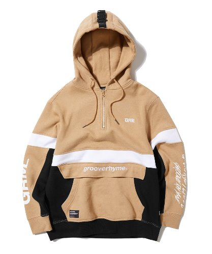 UNFORGET LABEL HOODIE (BEIGE) [GHD010G43BE]