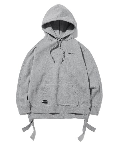 LONG STRING ZIPPER HOODIE (MELANGE GREY) [GHD014G43MG]
