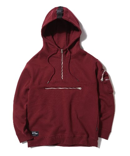 POCKET ZIPPER POINT HOODIE (BURGUNDY) [GHD013G43BU]