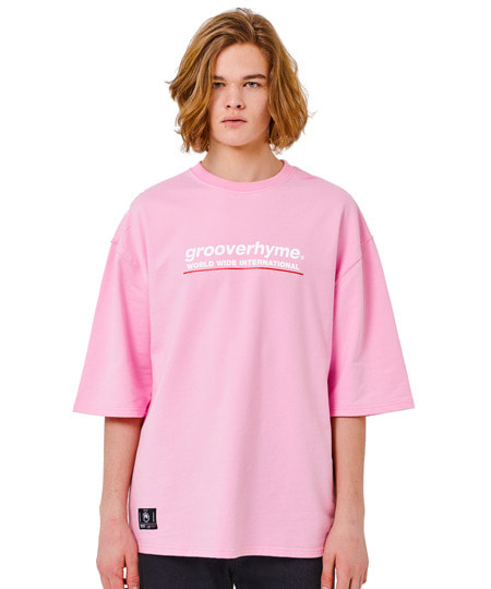 (미니쭈리 7부 오버핏)BASIC LOGO SLEEVE OVER FIT T-SHIRT (LIGHT PINK) [GTS001H13LP]