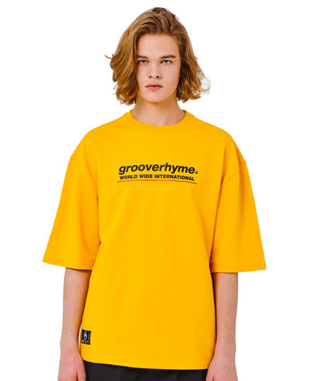 [그루브라임](미니쭈리 7부 오버핏)BASIC LOGO SLEEVE OVER FIT T-SHIRT (YELLOW) [GTS001H13YE]