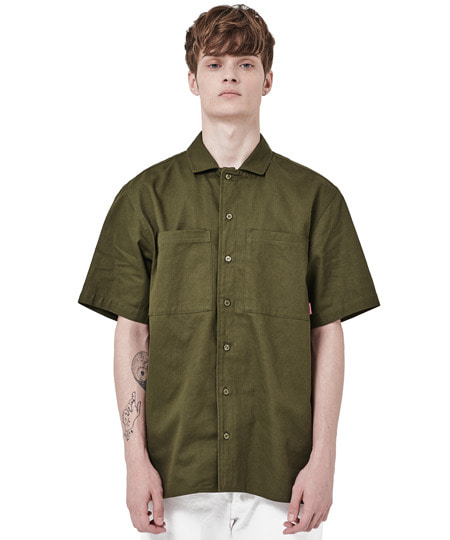 BOWLING OVER FIT SHIRTS (KHAKI) [GSH002H23KH]