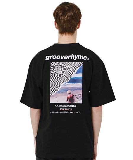[그루브라임] SURFING MAN PRINT OVER FIT T-SHIRTS (BLACK) [GTS014H23BK]