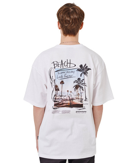 SUMMER BEACH SKETCH OVER FIT T-SHIRTS (WHITE) [GTS018H23WH]