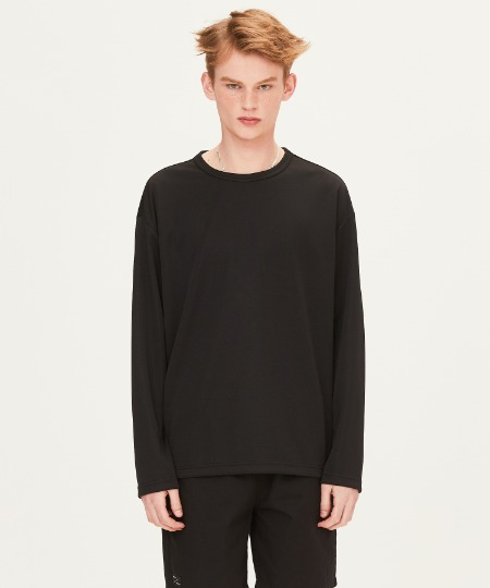 POLY WAFFLE LONG SLEEVE T-SHIRTS (BLACK) [FTS001H13BK]