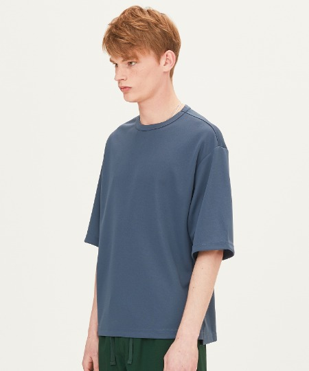 POLY WAFFLE OVER FIT SHORT SLEEVE T-SHIRTS (BLUE) [FTS001H23BL]