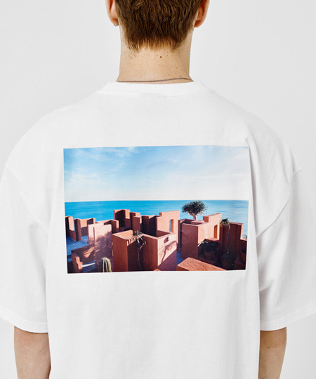 [그루브라임] SANTORINI BEACH PRINT OVER FIT T-SHIRTS(WHITE) [GTS006H23WH]