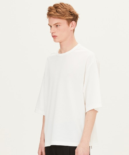 POLY WAFFLE OVER FIT SHORT SLEEVE T-SHIRTS (WHITE) [FTS001H23WH]