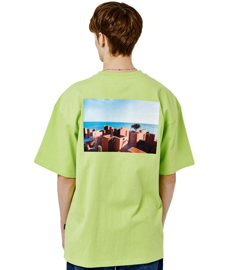 [그루브라임] SANTORINI BEACH PRINT OVER FIT T-SHIRTS(GREEN) [GTS006H23GR]