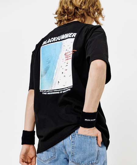 [그루브라임] BEACH PRINT OVER FIT T-SHIRTS (BLACK) [GTS005H23BK]
