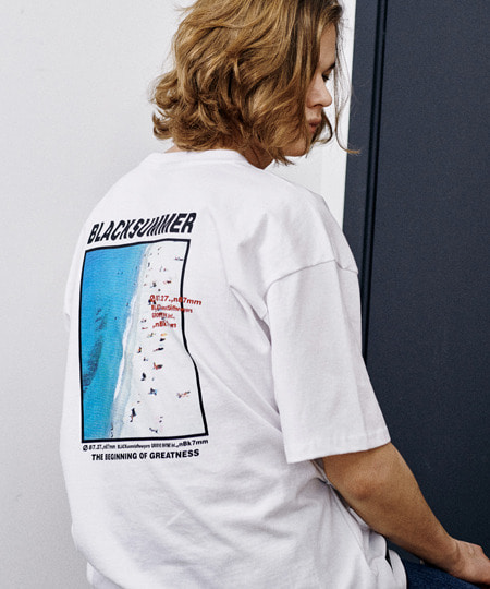 [그루브라임] BEACH PRINT OVER FIT T-SHIRTS (WHITE) [GTS005H23WH]