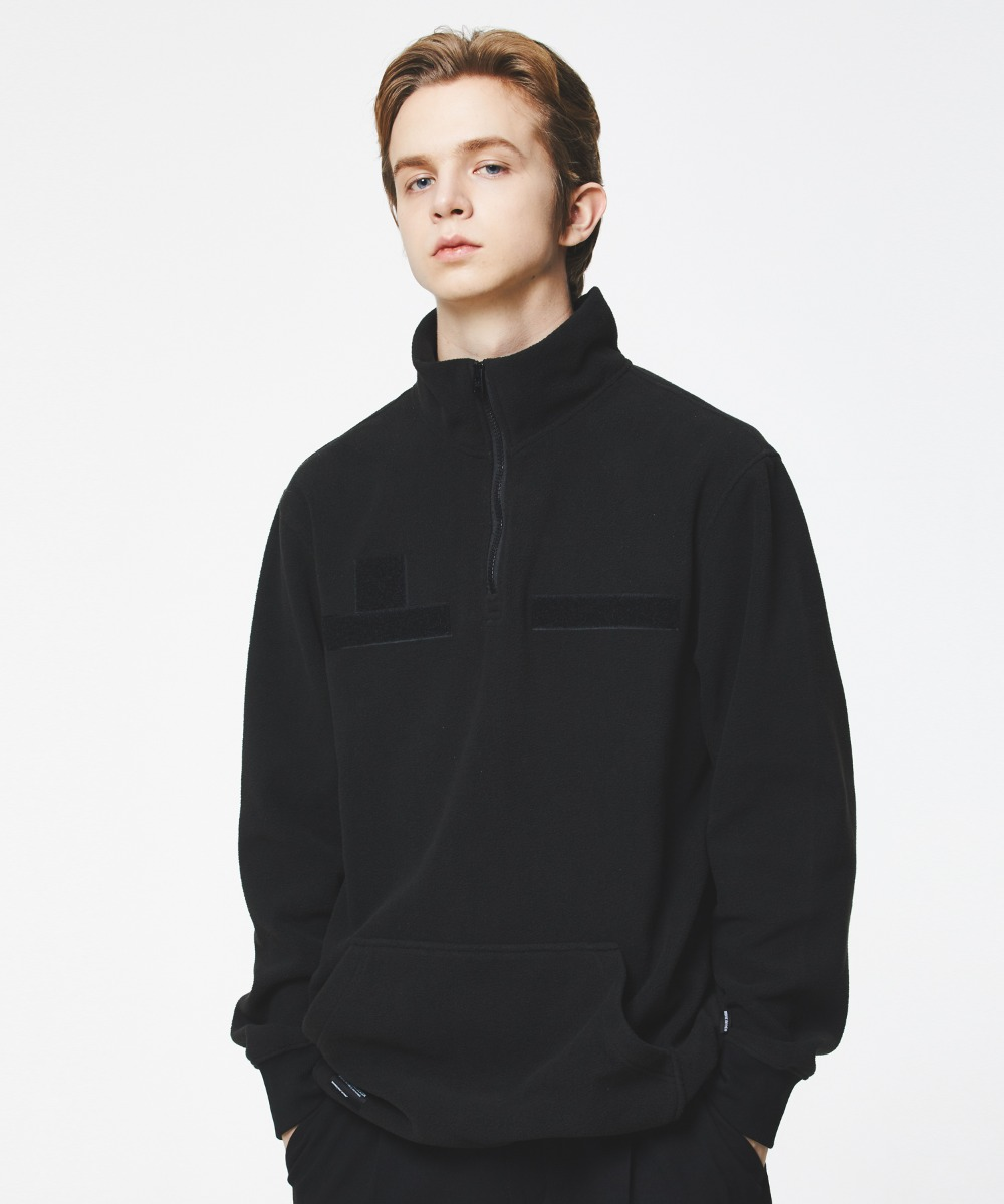 VELCRO PATCH FLEECE HALF ZIP-UP (BLACK) [GNZ302H43BKA]