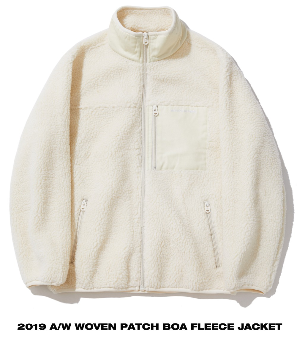 WOVEN PATCH BOA FLEECE JACKET (IVORY) [GFZ406H43IVA]