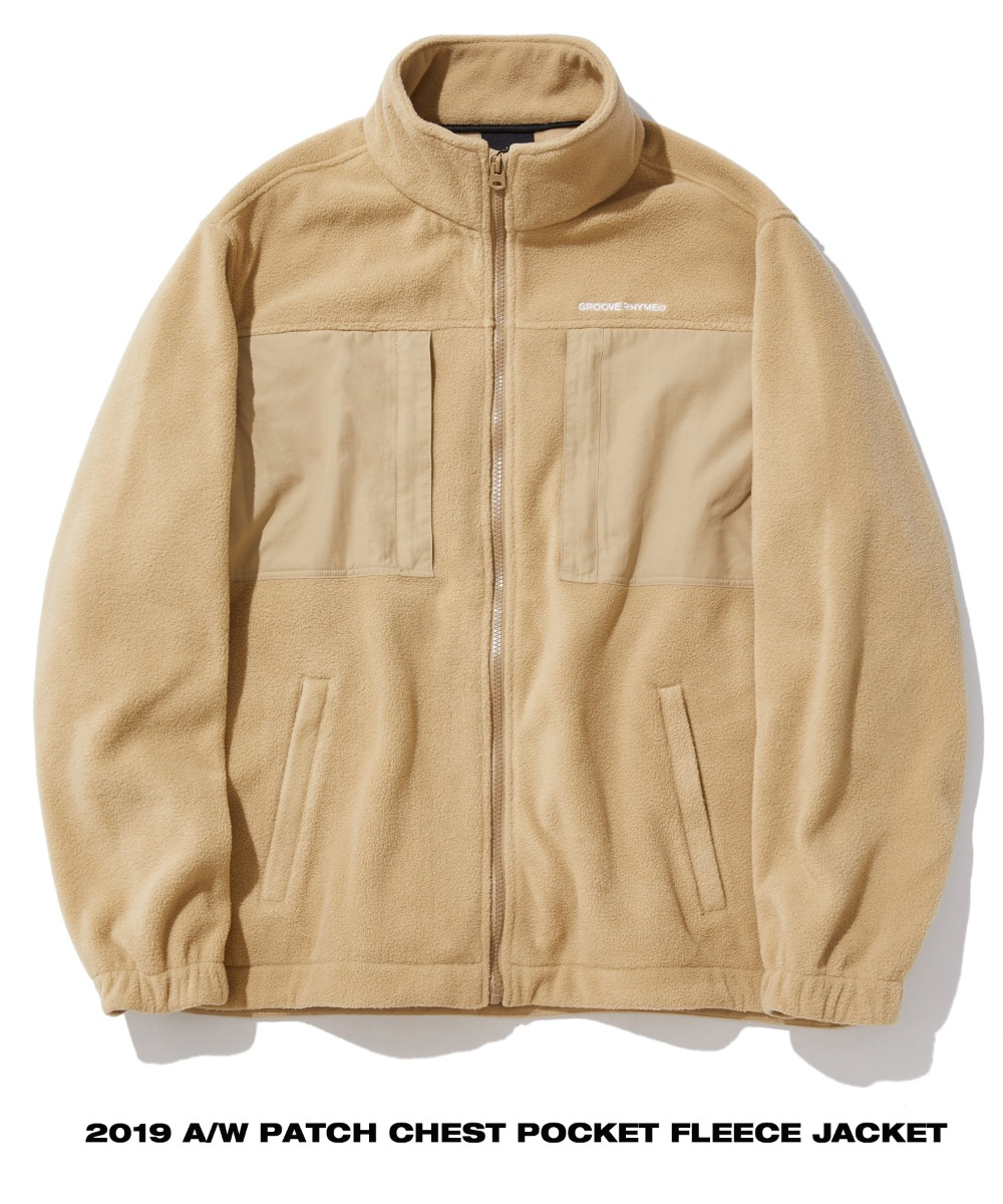 PATCH CHEST POCKET FLEECE JACKET (BEIGE) [GFZ404H43BEA]