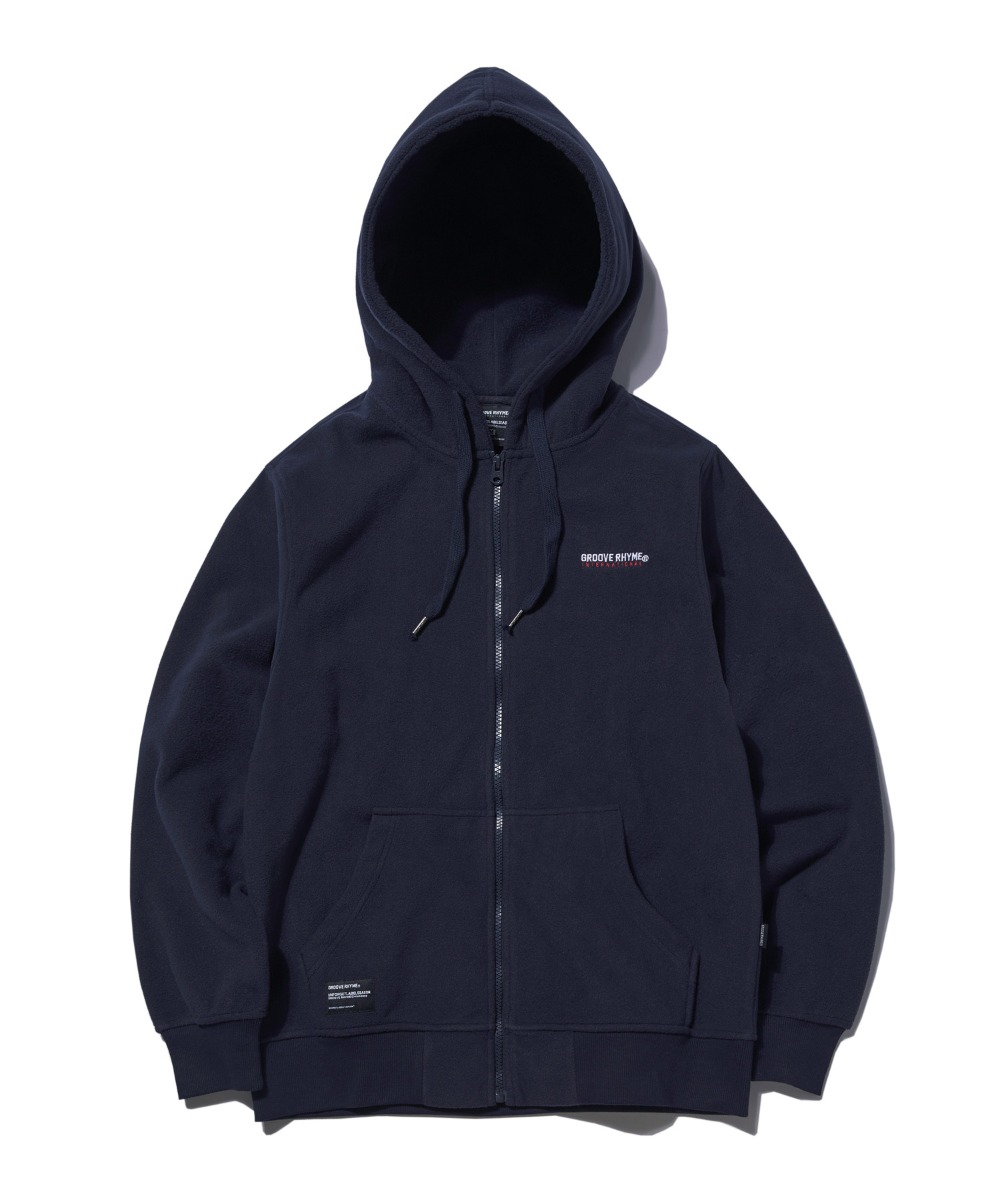 POLAR FLEECE HOOD FULL ZIP-UP (NAVY) [GHZ008G43NA]