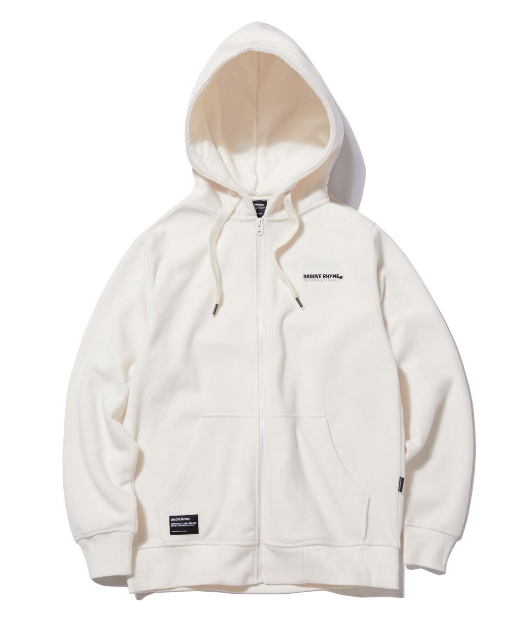 POLAR FLEECE HOOD FULL ZIP-UP (WHITE) [GHZ008G43WH]