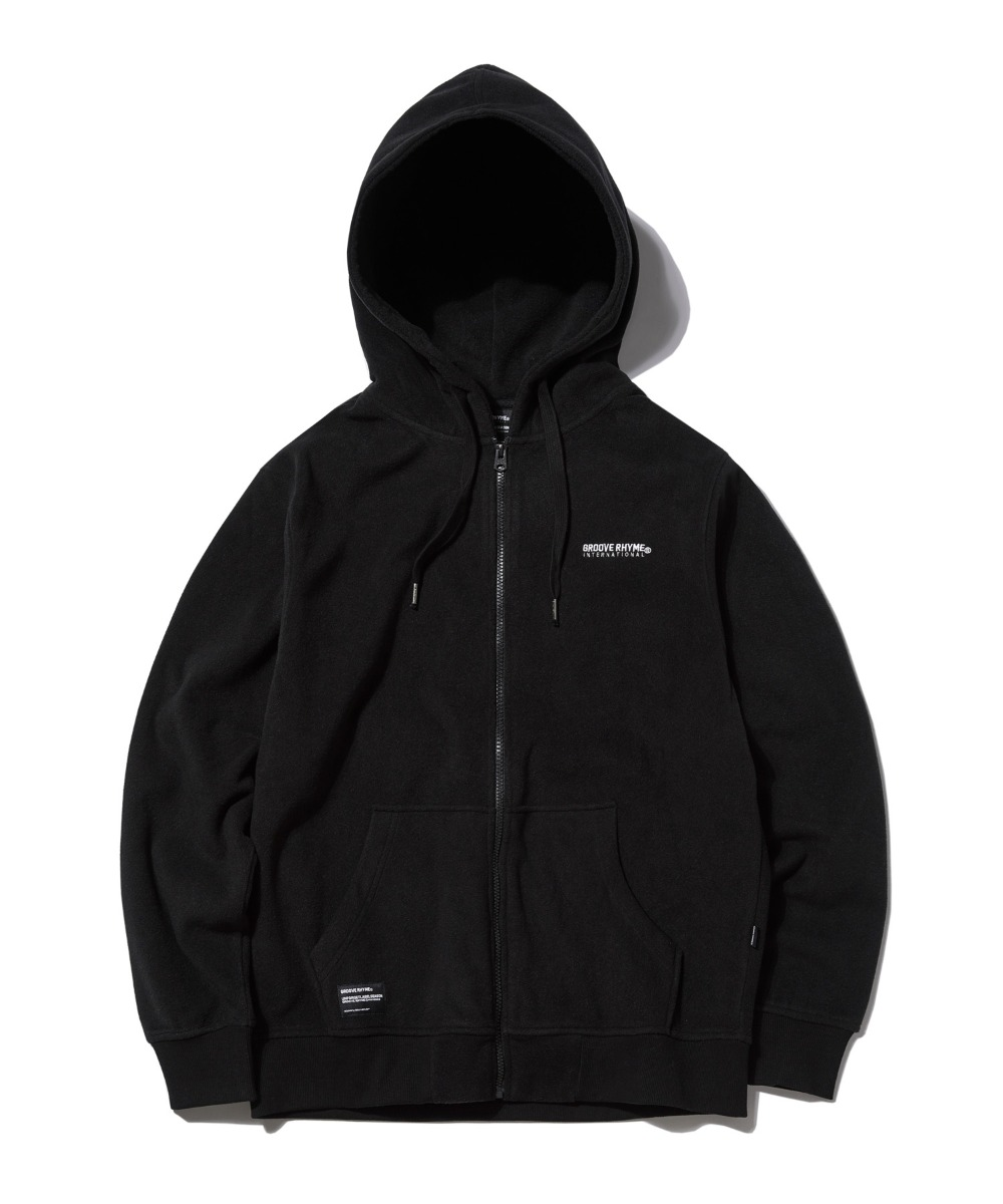 POLAR FLEECE HOOD FULL ZIP-UP (BLACK) [GHZ008G43BK]