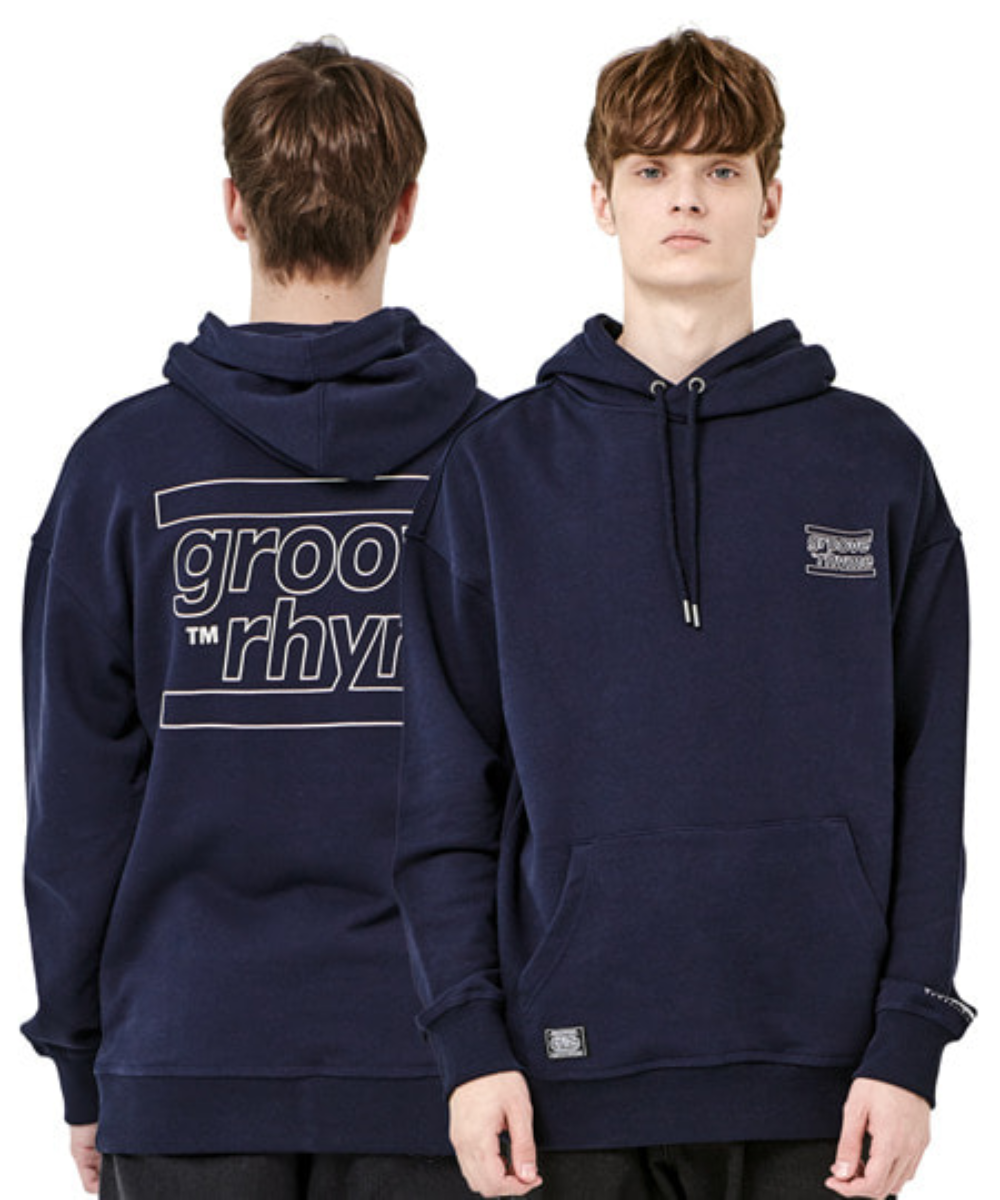 OVER FIT BACK BIG LOGO HOODY (NAVY) [GHD001H13NA]