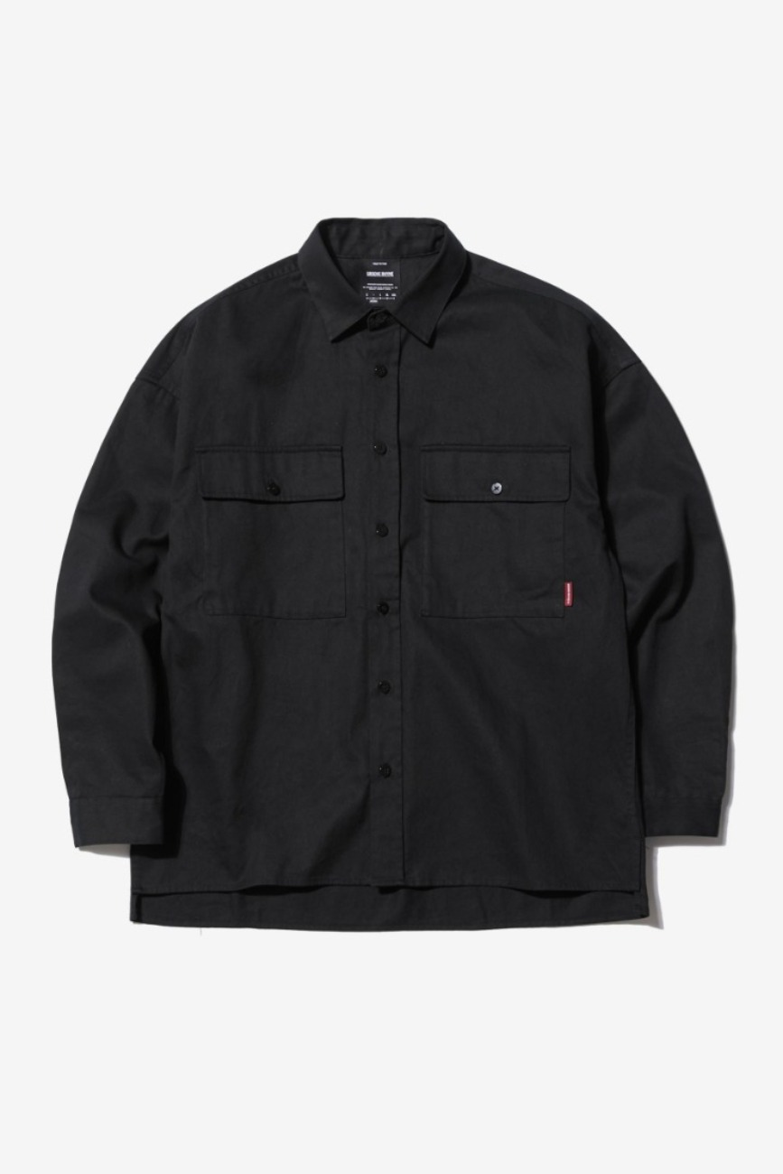CHEST POCKET OVER FIT SHIRTS (BLACK) [GSH003H13BK]