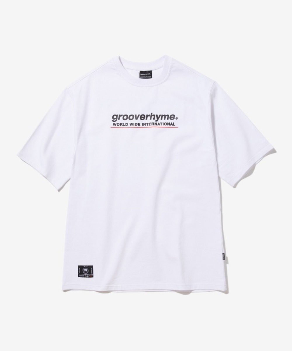 (미니쭈리 7부 오버핏)BASIC LOGO SLEEVE OVER FIT T-SHIRT (WHITE) [GTS001H13WH]