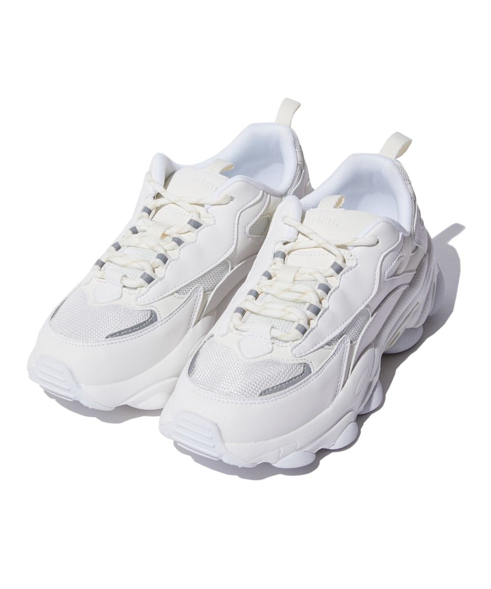 REFLECTIVE CHUNKY UGLY SHOES (WHITE) [GSN001I53WH]