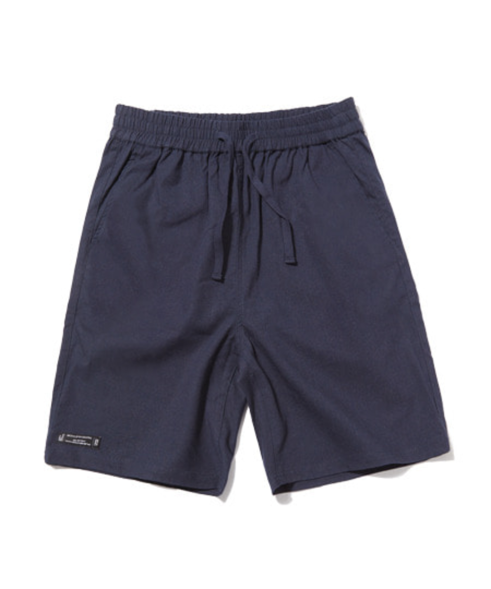 E-BAND BASIC LINEN HALF PANTS (NAVY) [GSP002H23NA]