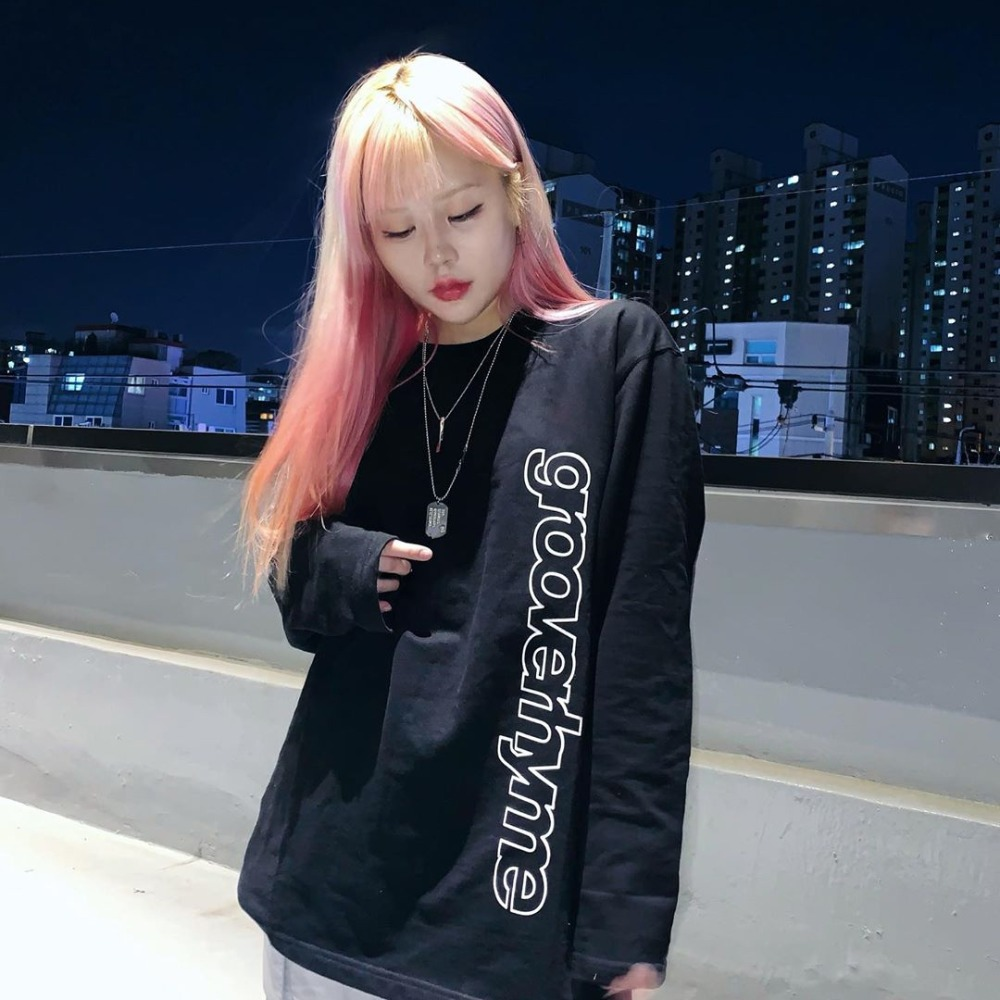 [STYLE] COLUMN LOGO LONG SLEEVE T-SHIRTS (BLACK) [GLT622I13BK]