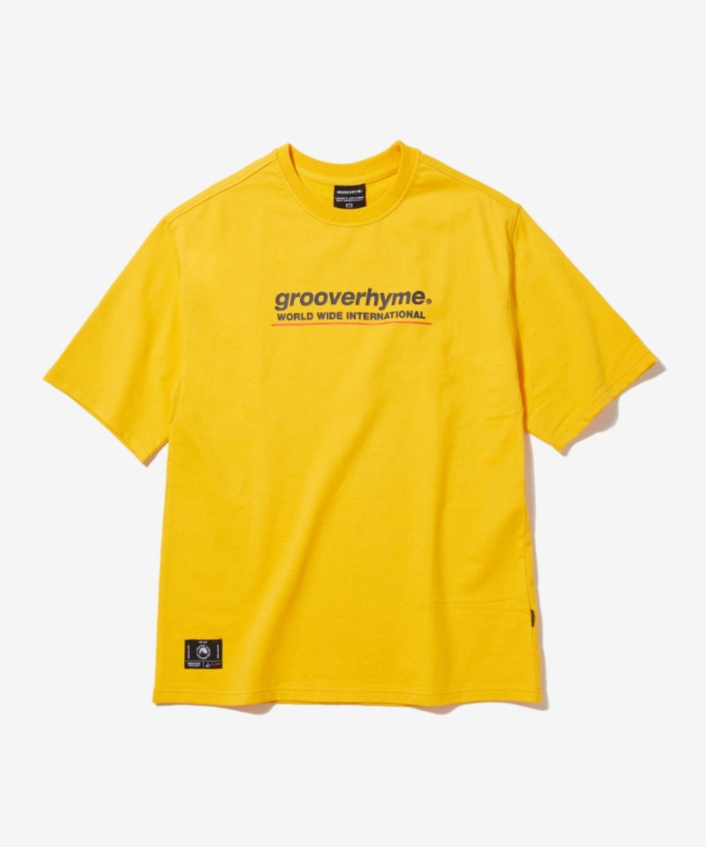(미니쭈리 7부 오버핏)BASIC LOGO SLEEVE OVER FIT T-SHIRT (YELLOW) [GTS001H13YE]