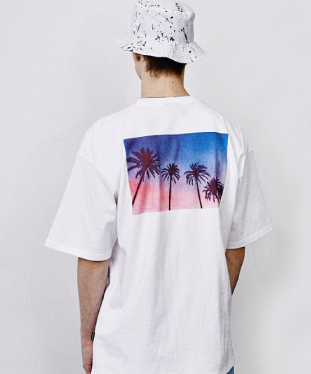 PALM TREE PRINT OVER FIT T-SHIRTS (WHTIE) [GTS007H23WH]