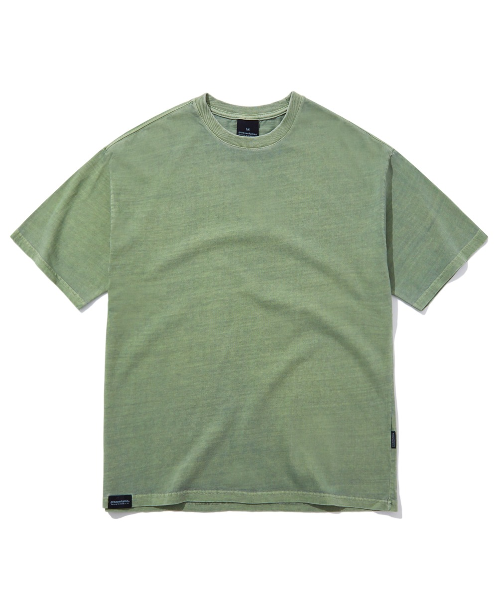 BASIC PIGMENT OVER FIT T-SHIRTS (LIGHT KHAKI) [GTS764I23LK]