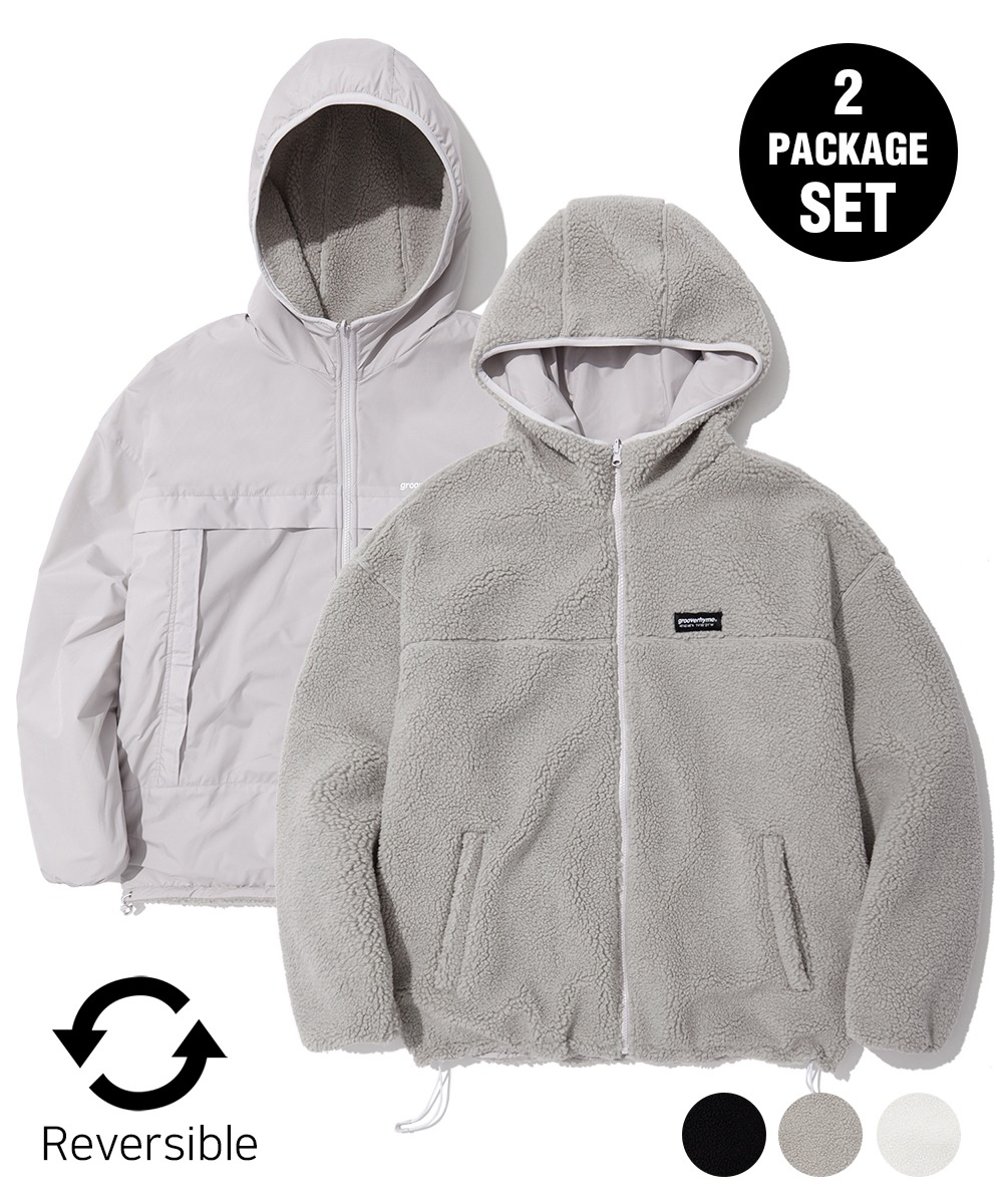 [1+1] REVERSIBLE BOA HOOD JUMPER (3color) [LROWCFU783M]